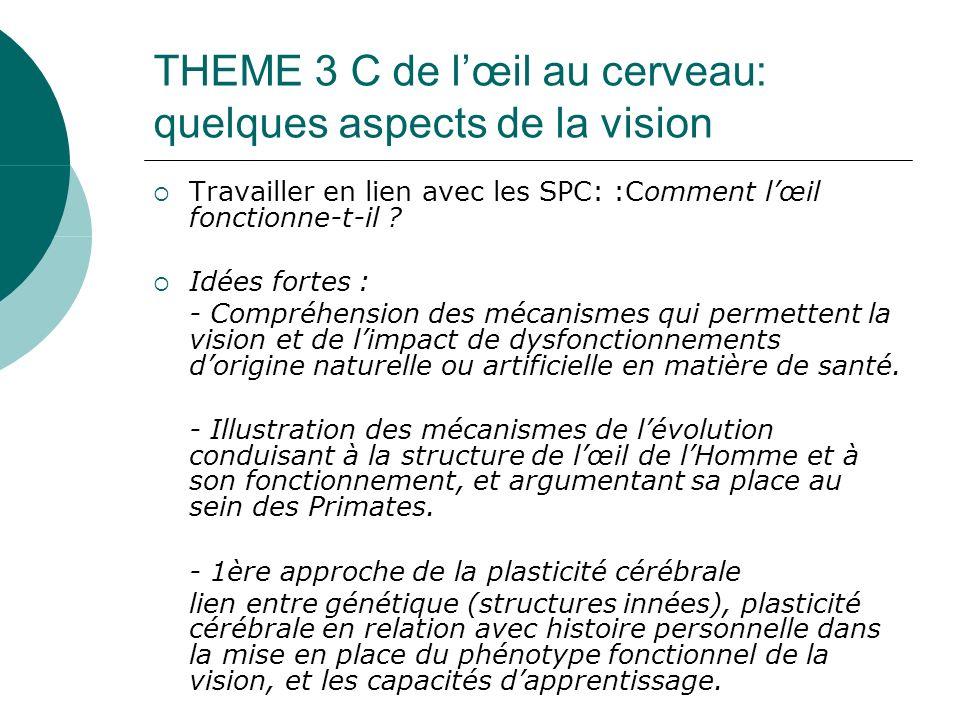 THEME 3 C de lœil au cerveau: quelques aspects de la vision Travailler en lien avec les SPC: :Comment lœil fonctionne-t-il ? Idées fortes : - Compréhe