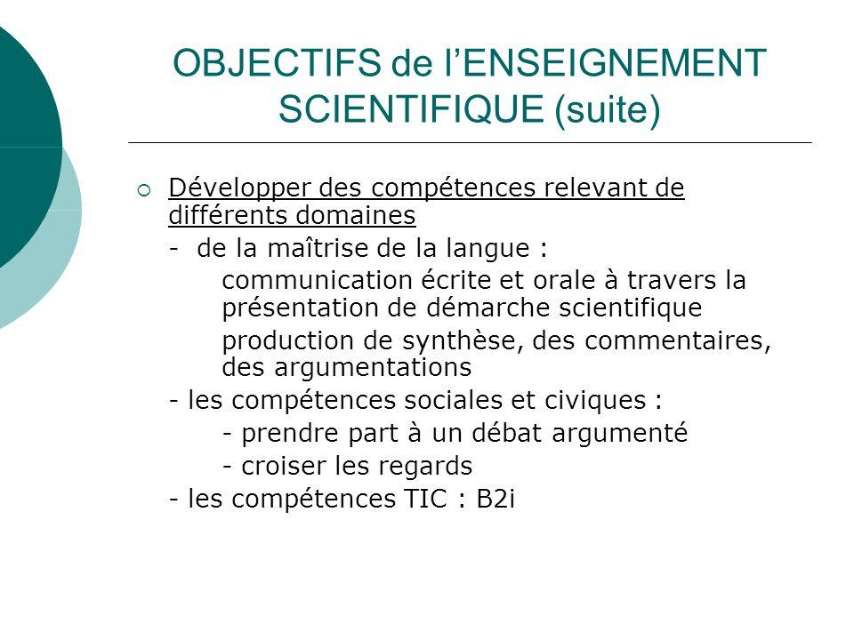 OBJECTIFS de lENSEIGNEMENT SCIENTIFIQUE (suite) Développer des compétences relevant de différents domaines - de la maîtrise de la langue : communicati