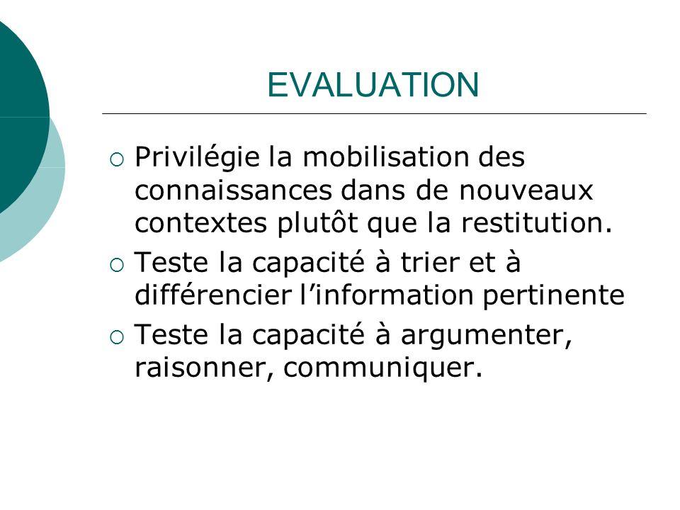 EVALUATION Privilégie la mobilisation des connaissances dans de nouveaux contextes plutôt que la restitution. Teste la capacité à trier et à différenc