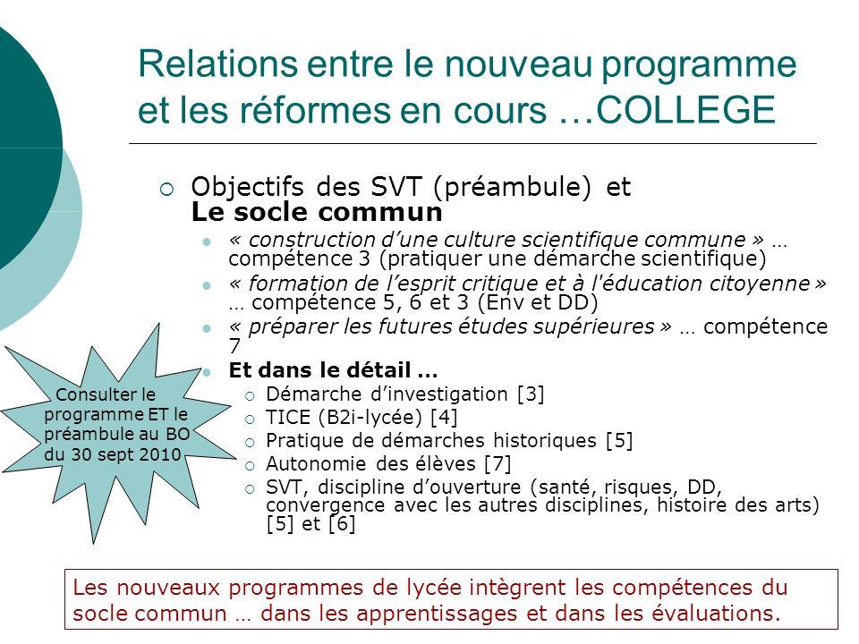 Objectifs des SVT (préambule) et Le socle commun « construction dune culture scientifique commune » … compétence 3 (pratiquer une démarche scientifiqu