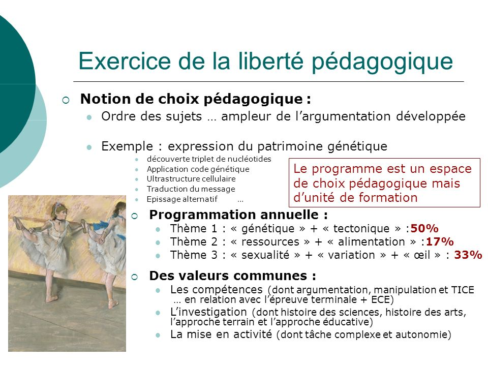 Exercice de la liberté pédagogique Notion de choix pédagogique : Ordre des sujets … ampleur de largumentation développée Exemple : expression du patri