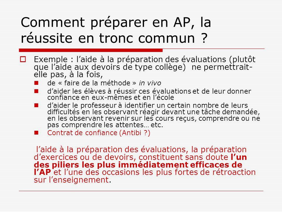Comment préparer en AP, la réussite en tronc commun .