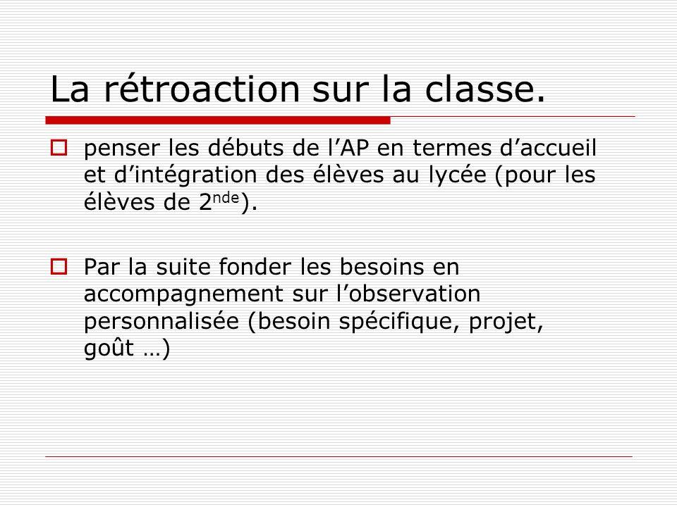 La rétroaction sur la classe.