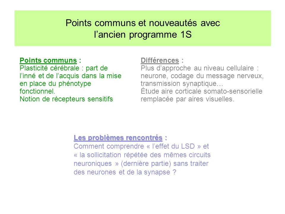 Points communs : Plasticité cérébrale : part de linné et de lacquis dans la mise en place du phénotype fonctionnel. Notion de récepteurs sensitifs Dif