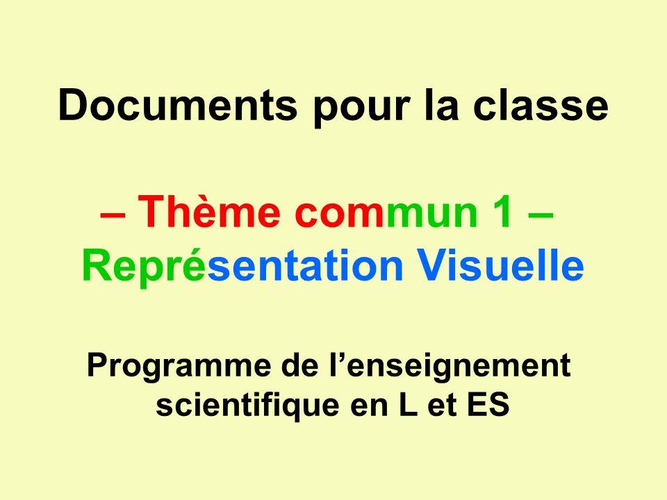Documents pour la classe – Thème commun 1 – Représentation Visuelle Programme de lenseignement scientifique en L et ES