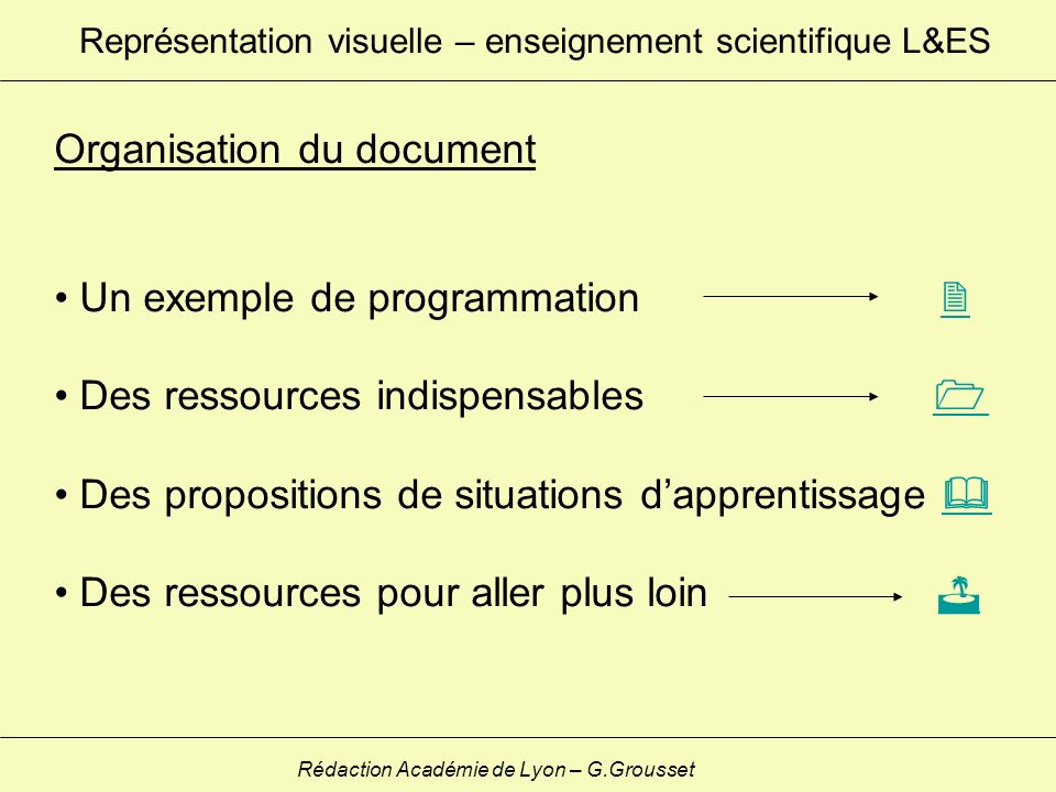 Organisation du document Un exemple de programmation Des ressources indispensables Des propositions de situations dapprentissage Des ressources pour a
