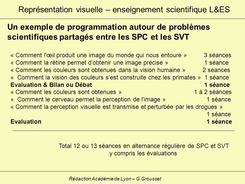 Représentation visuelle – enseignement scientifique L&ES Rédaction Académie de Lyon – G.Grousset Un exemple de programmation autour de problèmes scien