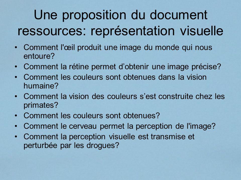 Une proposition du document ressources: représentation visuelle Comment l'œil produit une image du monde qui nous entoure? Comment la rétine permet do