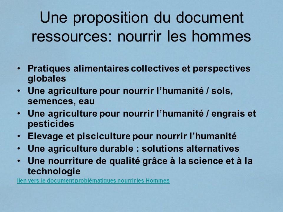 Une proposition du document ressources: nourrir les hommes Pratiques alimentaires collectives et perspectives globales Une agriculture pour nourrir lh