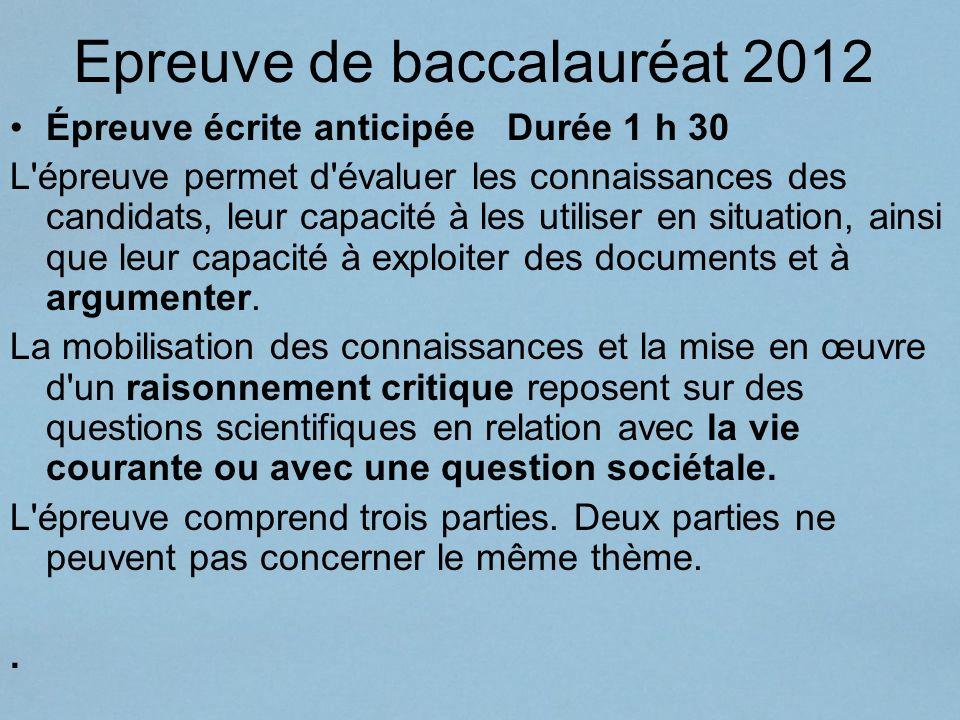 Epreuve de baccalauréat 2012 Épreuve écrite anticipée Durée 1 h 30 L'épreuve permet d'évaluer les connaissances des candidats, leur capacité à les uti