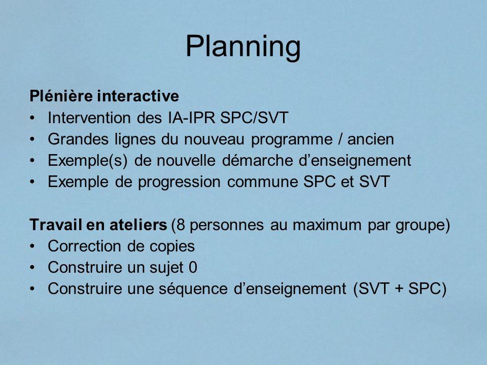 Planning Plénière interactive Intervention des IA-IPR SPC/SVT Grandes lignes du nouveau programme / ancien Exemple(s) de nouvelle démarche denseigneme