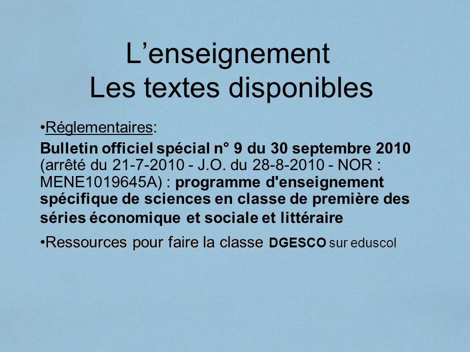 Lenseignement Les textes disponibles Réglementaires: Bulletin officiel spécial n° 9 du 30 septembre 2010 (arrêté du 21-7-2010 - J.O. du 28-8-2010 - NO