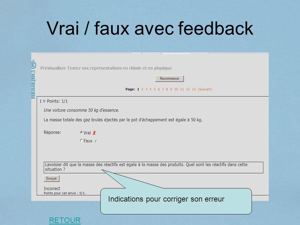 Vrai / faux avec feedback Indications pour corriger son erreur RETOUR
