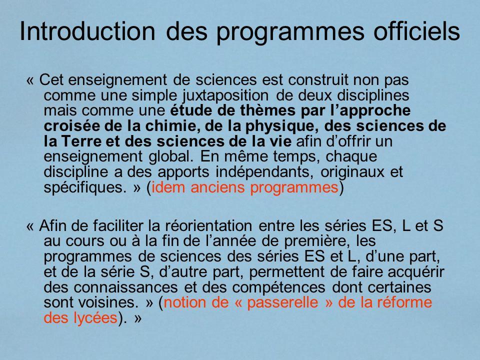 Introduction des programmes officiels « Cet enseignement de sciences est construit non pas comme une simple juxtaposition de deux disciplines mais com