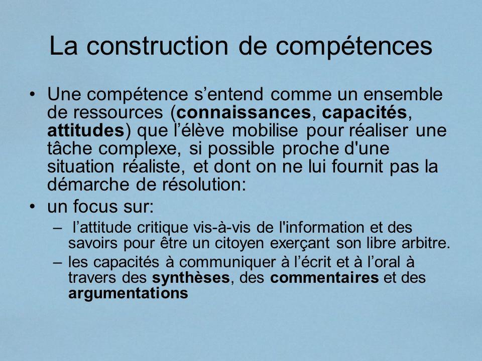 La construction de compétences Une compétence sentend comme un ensemble de ressources (connaissances, capacités, attitudes) que lélève mobilise pour r
