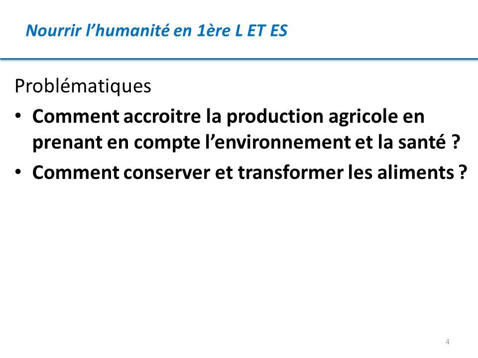 Nourrir lhumanité en 1ère L ET ES Problématiques Comment accroitre la production agricole en prenant en compte lenvironnement et la santé ? Comment co