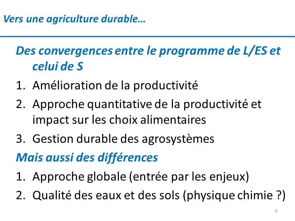 Vers une agriculture durable… 6 Des convergences entre le programme de L/ES et celui de S 1.Amélioration de la productivité 2.Approche quantitative de
