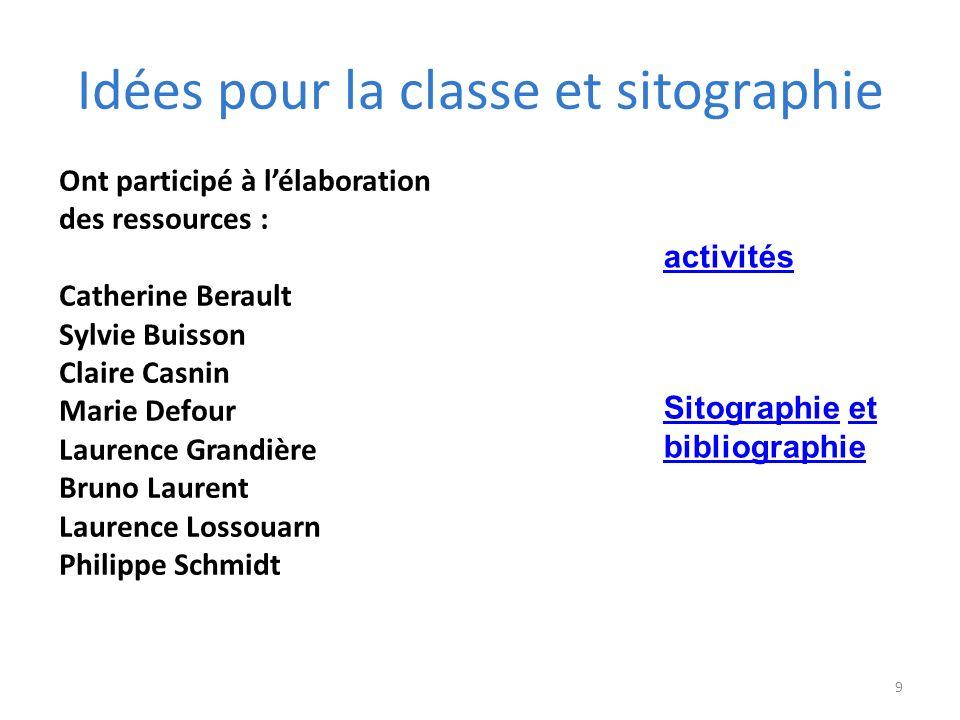 Idées pour la classe et sitographie 9 Ont participé à lélaboration des ressources : Catherine Berault Sylvie Buisson Claire Casnin Marie Defour Lauren