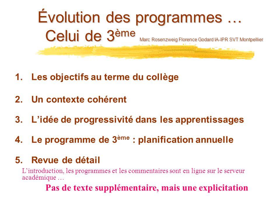 Évolution des programmes … Celui de 3 ème Marc Rosenzweig Florence Godard IA-IPR SVT Montpellier 1.Les objectifs au terme du collège 2.Un contexte coh