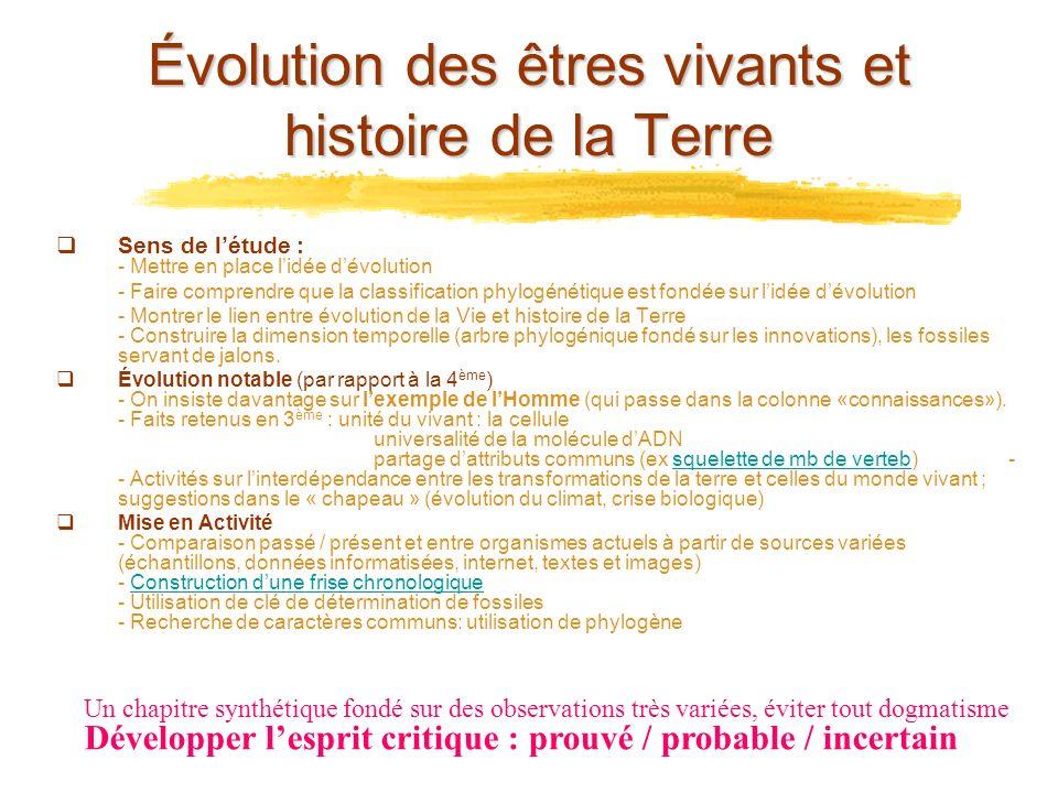 Évolution des êtres vivants et histoire de la Terre Sens de létude : - Mettre en place lidée dévolution - Faire comprendre que la classification phylo