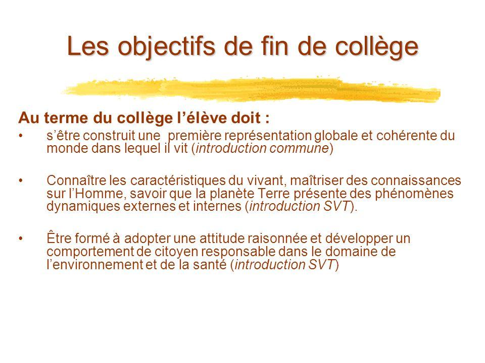 Les objectifs de fin de collège Au terme du collège lélève doit : sêtre construit une première représentation globale et cohérente du monde dans leque