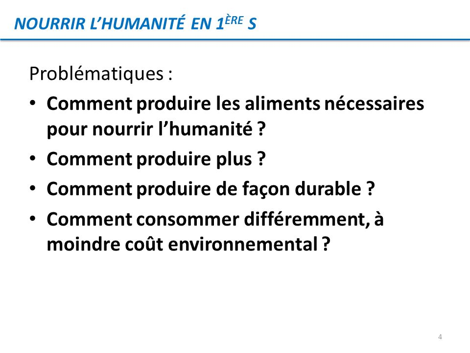 Problématiques : Comment produire les aliments nécessaires pour nourrir lhumanité ? Comment produire plus ? Comment produire de façon durable ? Commen