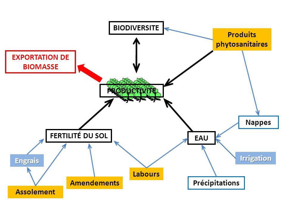 FERTILITÉ DU SOL EAU BIODIVERSITE Engrais Labours Irrigation Nappes Amendements Assolement Produits phytosanitaires Précipitations PRODUCTIVITE EXPORTATION DE BIOMASSE