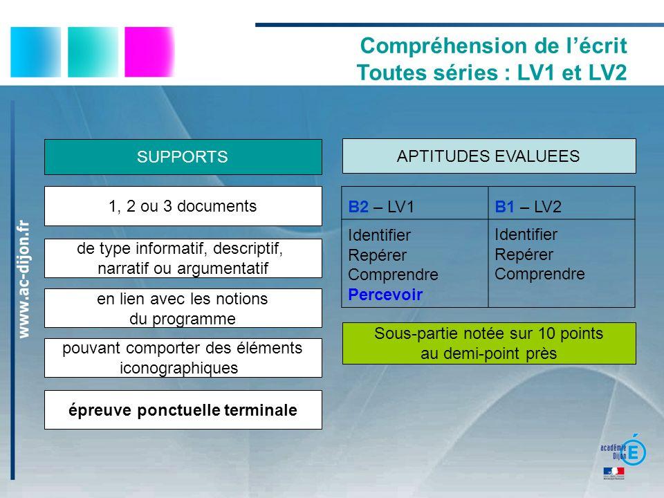 Compréhension de lécrit Toutes séries : LV1 et LV2 B2 – LV1B1 – LV2 Identifier Repérer Comprendre Percevoir Identifier Repérer Comprendre Sous-partie