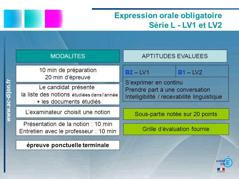 Expression orale obligatoire Série L - LV1 et LV2 B2 – LV1B1 – LV2 Sexprimer en continu Prendre part à une conversation Intelligibilité / recevabilité