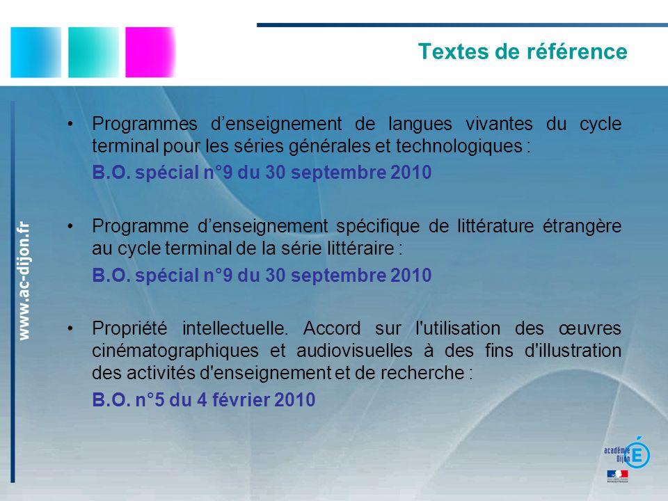 Textes de référence Programmes denseignement de langues vivantes du cycle terminal pour les séries générales et technologiques : B.O. spécial n°9 du 3