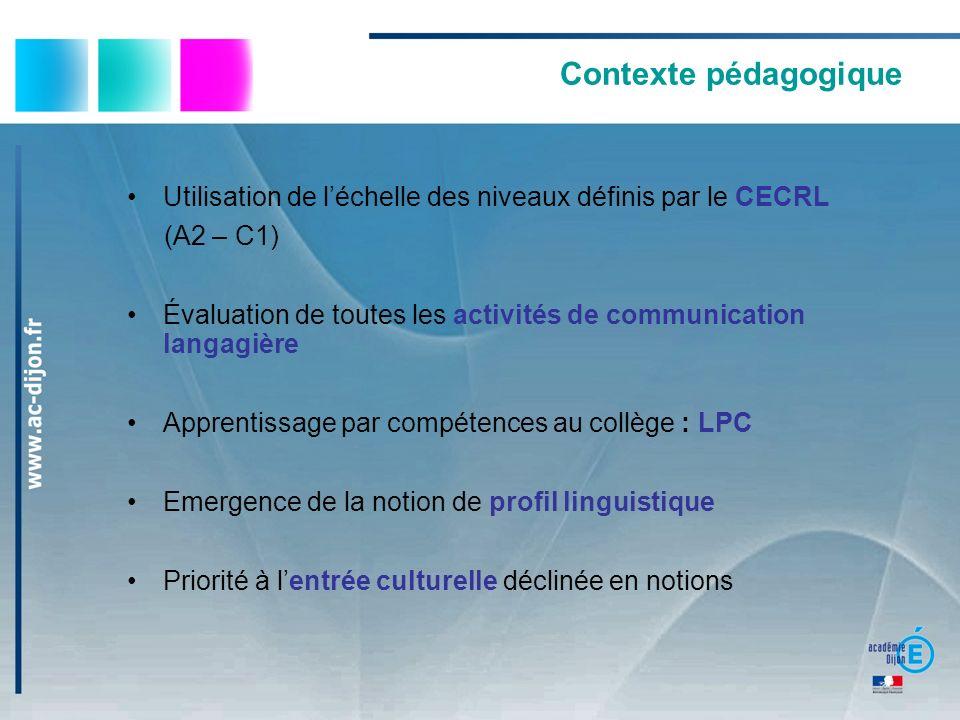 Contexte pédagogique Utilisation de léchelle des niveaux définis par le CECRL (A2 – C1) Évaluation de toutes les activités de communication langagière