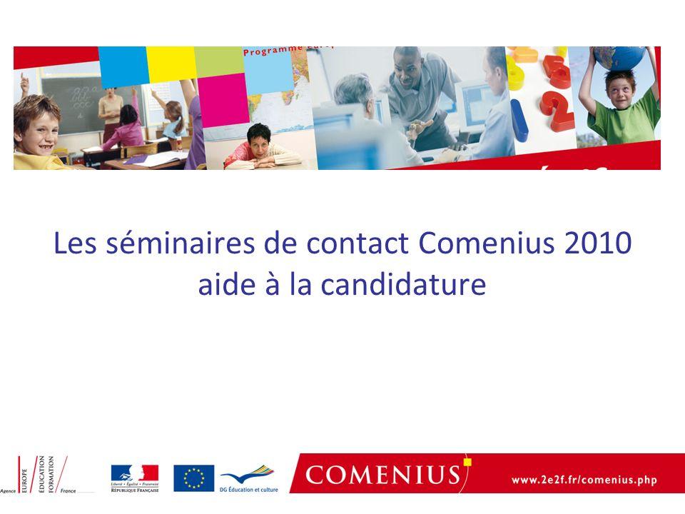Les séminaires de contact Comenius 2010 aide à la candidature