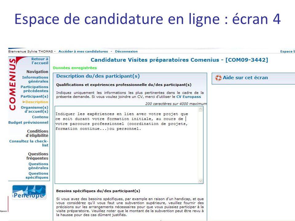 Espace de candidature en ligne : écran 4