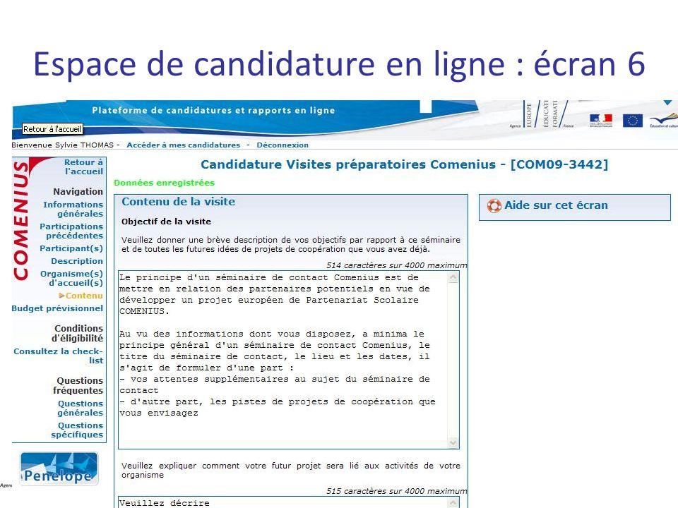Espace de candidature en ligne : écran 6