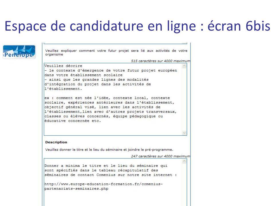 Espace de candidature en ligne : écran 6bis