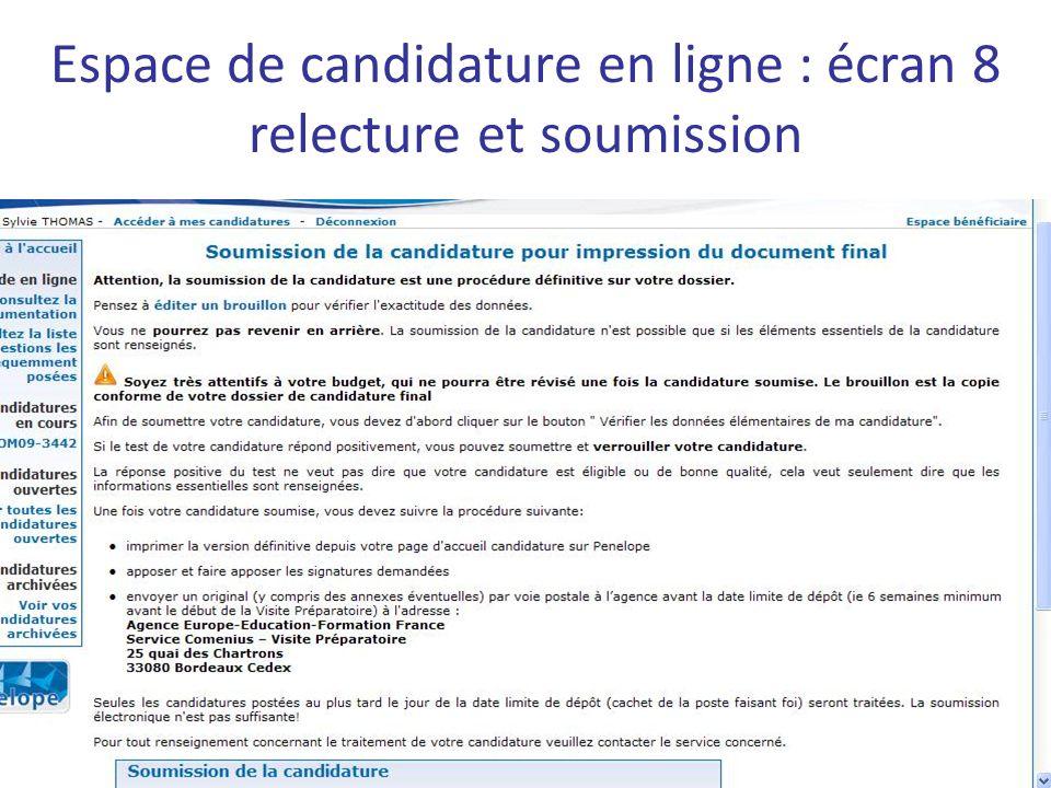 Espace de candidature en ligne : écran 8 relecture et soumission