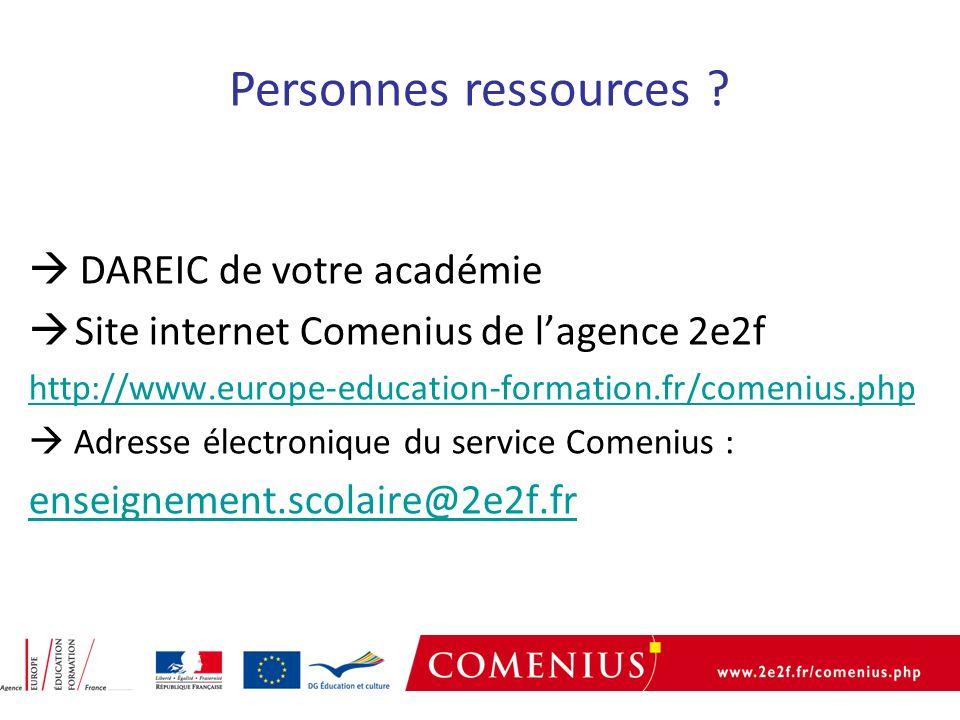 DAREIC de votre académie Site internet Comenius de lagence 2e2f http://www.europe-education-formation.fr/comenius.php Adresse électronique du service Comenius : enseignement.scolaire@2e2f.fr Personnes ressources ?