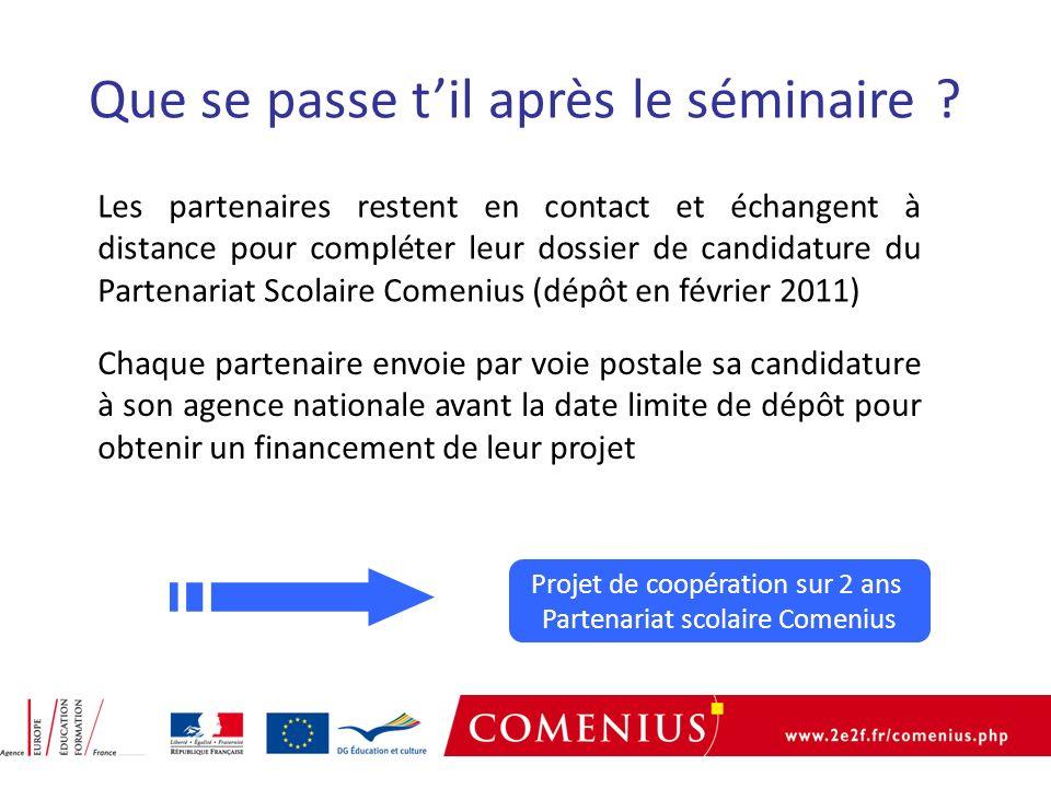 Projet de coopération sur 2 ans Partenariat scolaire Comenius Que se passe til après le séminaire .
