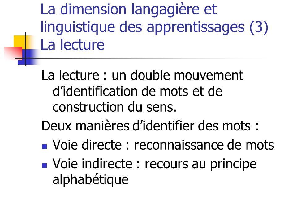 La dimension langagière et linguistique des apprentissages (3) La lecture La lecture : un double mouvement didentification de mots et de construction du sens.