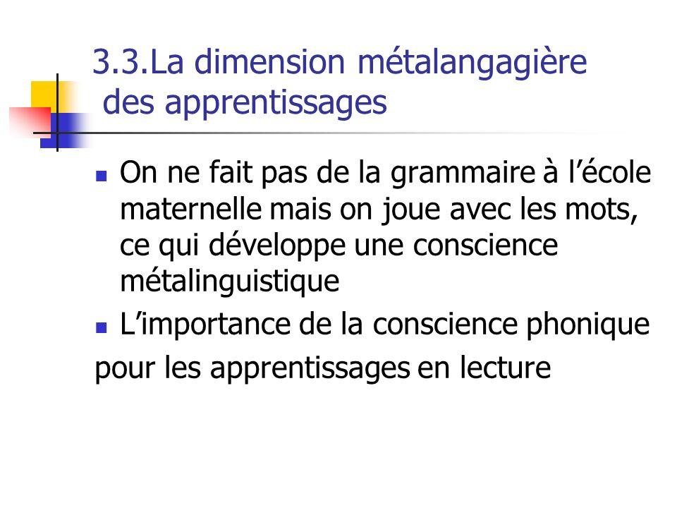 3.3.La dimension métalangagière des apprentissages On ne fait pas de la grammaire à lécole maternelle mais on joue avec les mots, ce qui développe une conscience métalinguistique Limportance de la conscience phonique pour les apprentissages en lecture