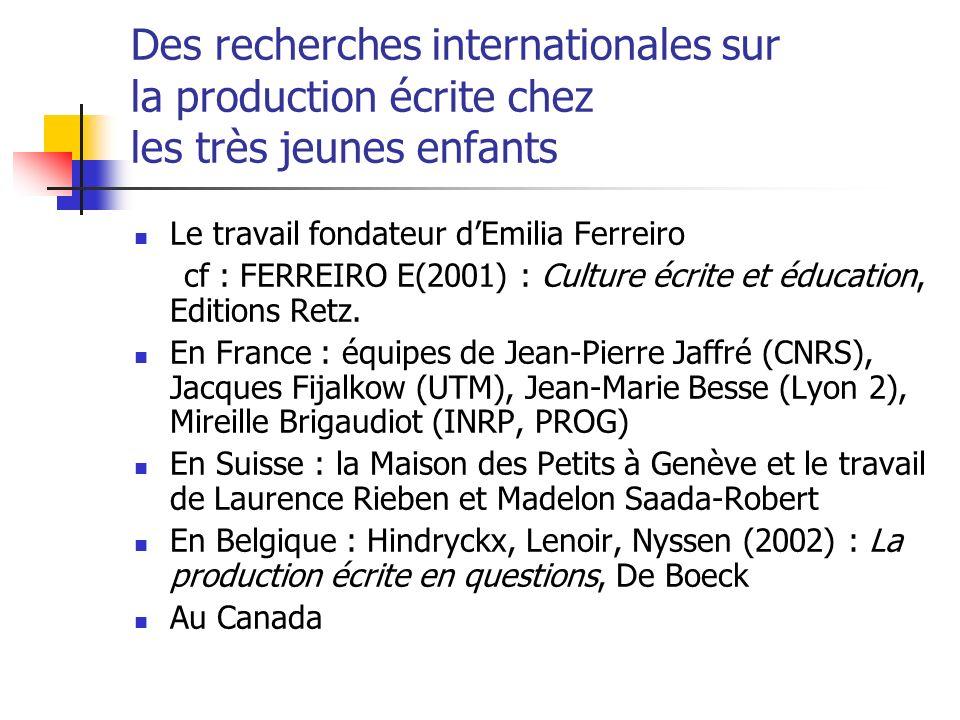 Des recherches internationales sur la production écrite chez les très jeunes enfants Le travail fondateur dEmilia Ferreiro cf : FERREIRO E(2001) : Culture écrite et éducation, Editions Retz.