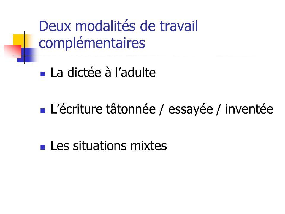 Deux modalités de travail complémentaires La dictée à ladulte Lécriture tâtonnée / essayée / inventée Les situations mixtes