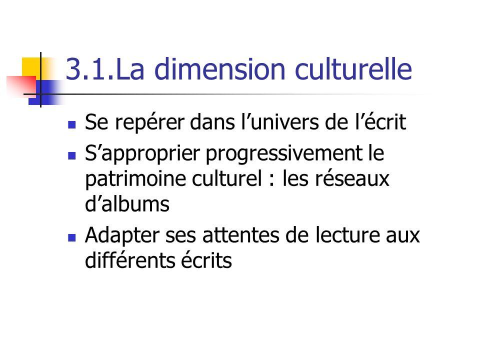 3.1.La dimension culturelle Se repérer dans lunivers de lécrit Sapproprier progressivement le patrimoine culturel : les réseaux dalbums Adapter ses attentes de lecture aux différents écrits
