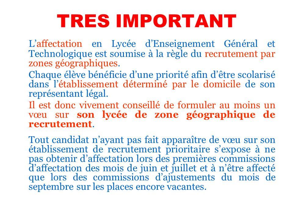 TRES IMPORTANT Laffectation en Lycée dEnseignement Général et Technologique est soumise à la règle du recrutement par zones géographiques. Chaque élèv