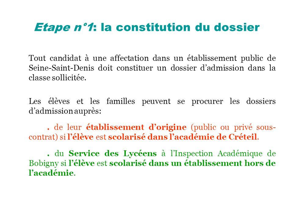 Etape n°1: la constitution du dossier Tout candidat à une affectation dans un établissement public de Seine-Saint-Denis doit constituer un dossier dad