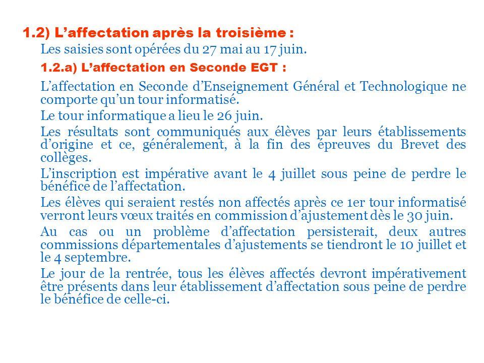 1.2) Laffectation après la troisième : Les saisies sont opérées du 27 mai au 17 juin. 1.2.a) Laffectation en Seconde EGT : Laffectation en Seconde dEn