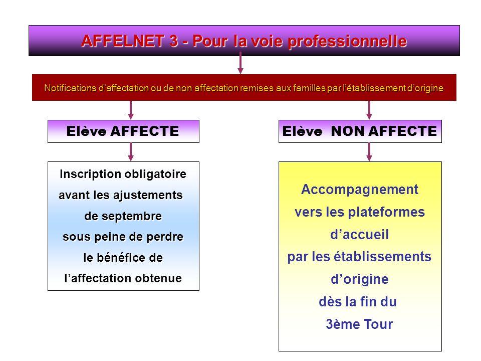 AFFELNET 3 - Pour la voie professionnelle Inscription obligatoire avant les ajustements de septembre sous peine de perdre le bénéfice de laffectation