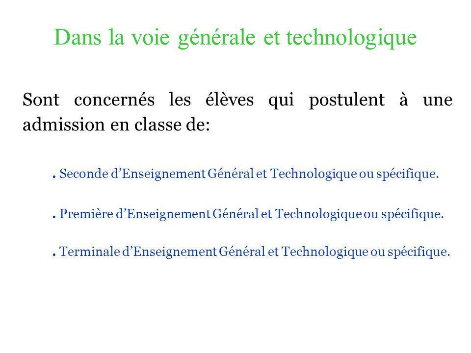 Dans la voie générale et technologique Sont concernés les élèves qui postulent à une admission en classe de:. Seconde dEnseignement Général et Technol