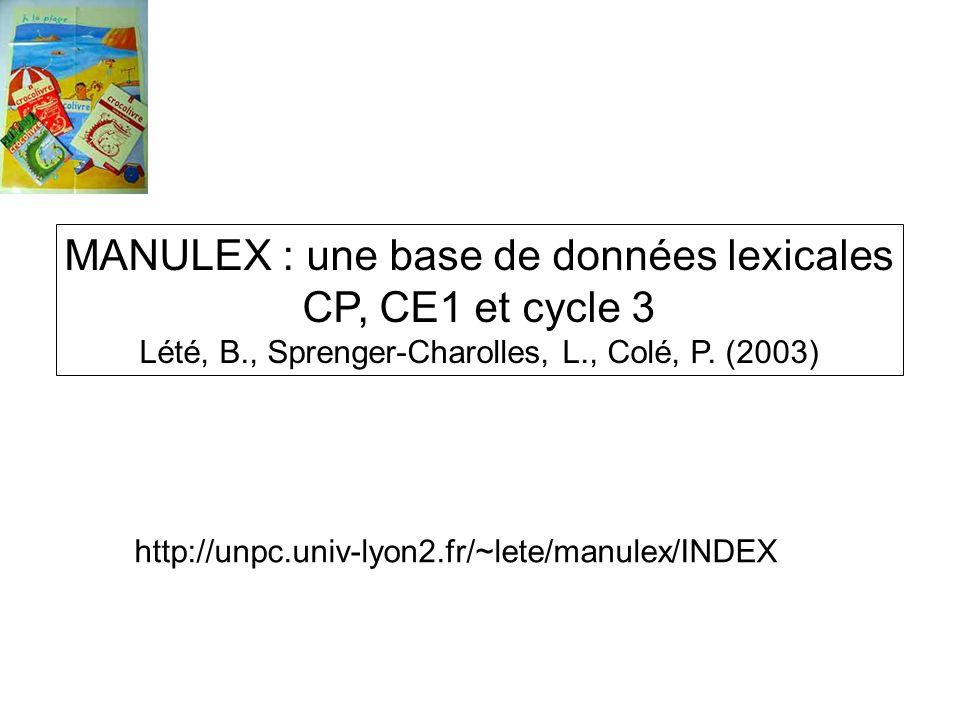 MANULEX : une base de données lexicales CP, CE1 et cycle 3 Lété, B., Sprenger-Charolles, L., Colé, P. (2003) http://unpc.univ-lyon2.fr/~lete/manulex/I