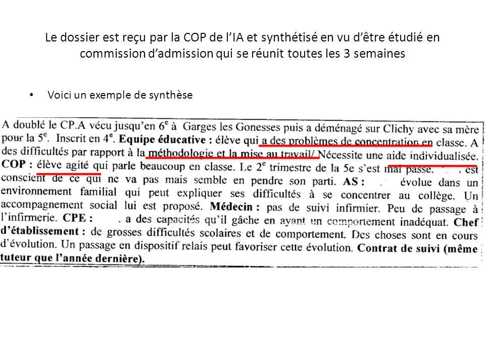 Le dossier est reçu par la COP de lIA et synthétisé en vu dêtre étudié en commission dadmission qui se réunit toutes les 3 semaines Voici un exemple de synthèse